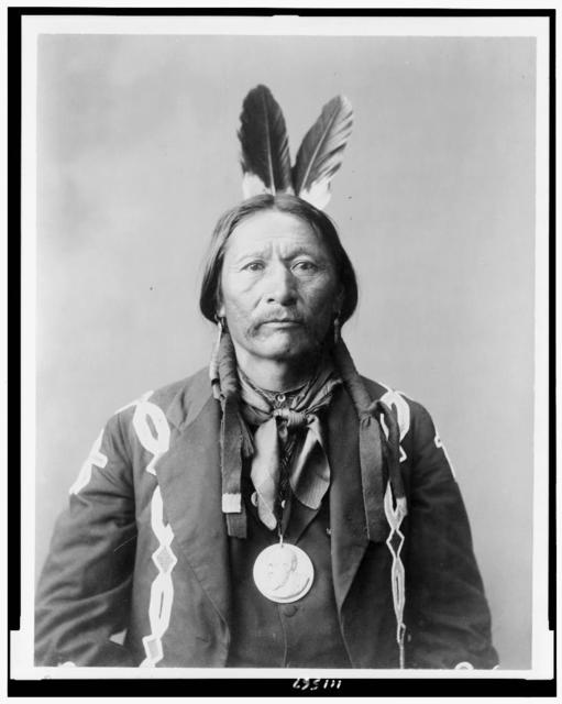 [Buckskin Charlie, Ute, half-length portrait, facing front, with medal around neck]