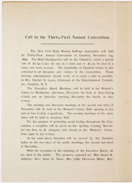 Call to Thirty First Annual Convention New York State Woman Suffrage Association, Dunkirk, New York