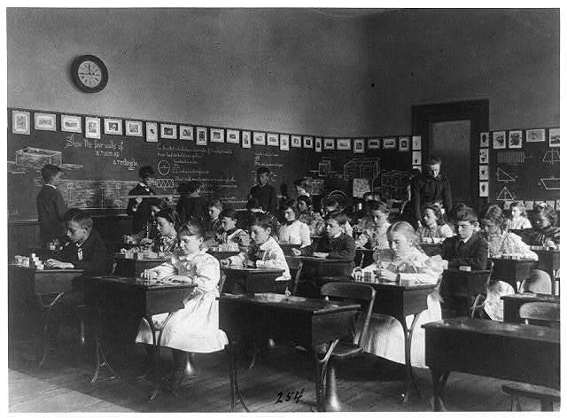 [Children in school in Washington, D.C. - studying geometry]