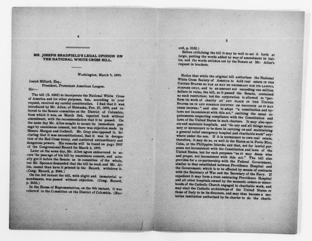 Clara Barton Papers: Red Cross File, 1863-1957; American National Red Cross, 1878-1957; Incorporation; National incorporation and insignia protection; National White Cross of America, 1899-1900
