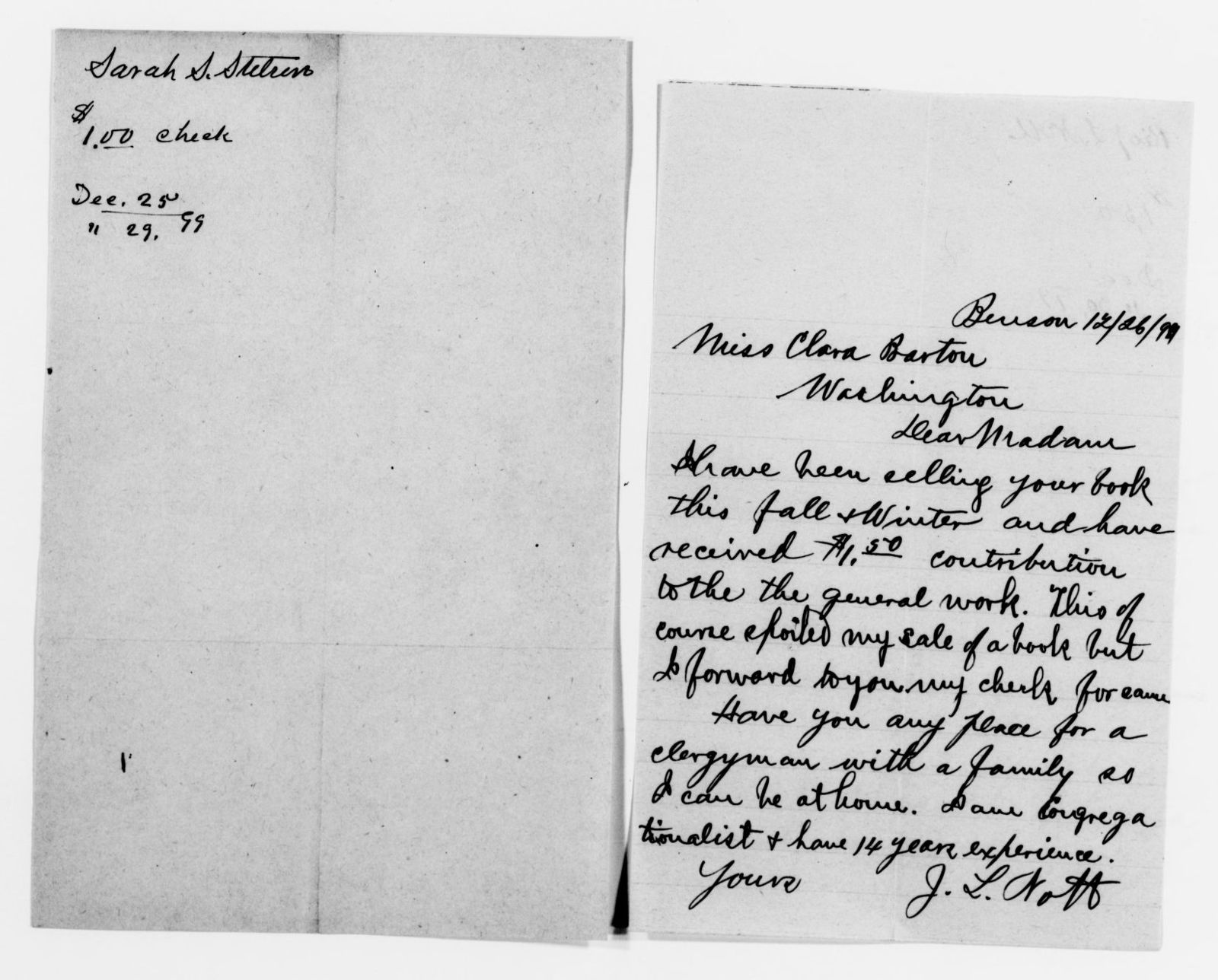 Clara Barton Papers: Red Cross File, 1863-1957; American National Red Cross, 1878-1957; Relief operations; Spanish-American War; Contributions and donations; Cash contributions; 1899, June-1900, July