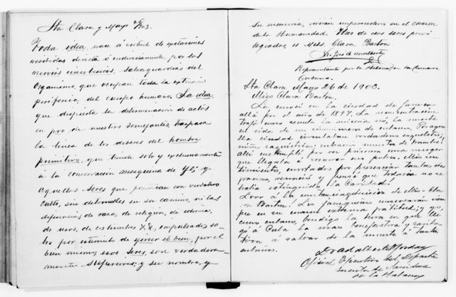 Clara Barton Papers: Red Cross File, 1863-1957; American National Red Cross, 1878-1957; Relief operations; Spanish-American War; Testimonials; Autograph book, 1899-1904