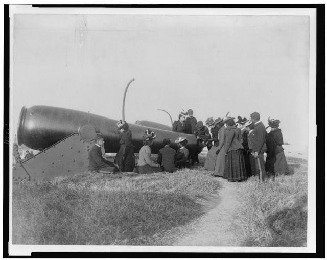 [Class from Hampton Institute, Hampton, Va., looking at cannon at Fort Monroe]