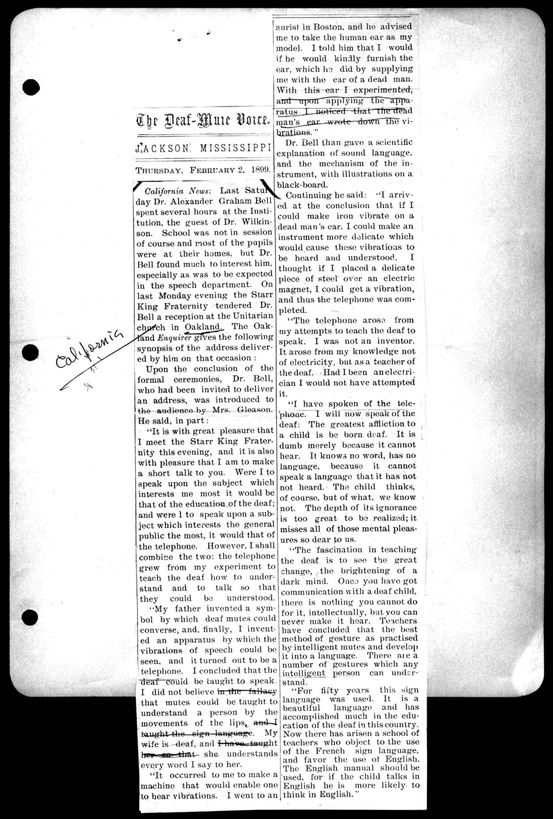 Clipping, February 2, 1899