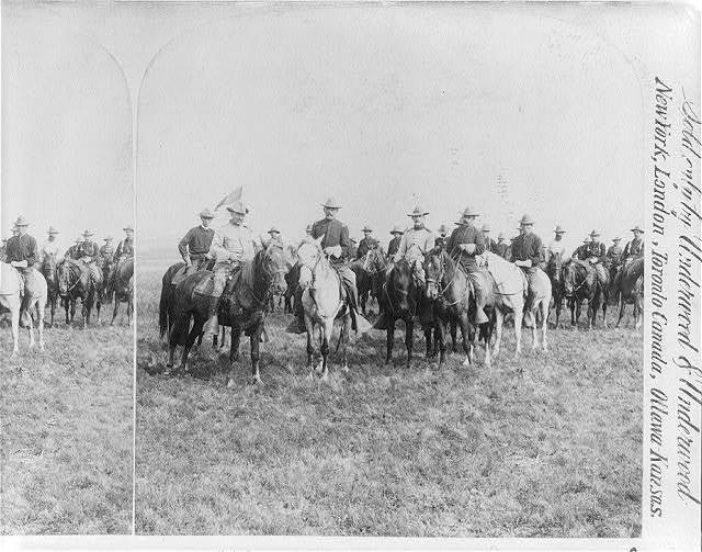 Col. Roosevelt and officers of the Rough Riders [on horseback during Spanish-American War]