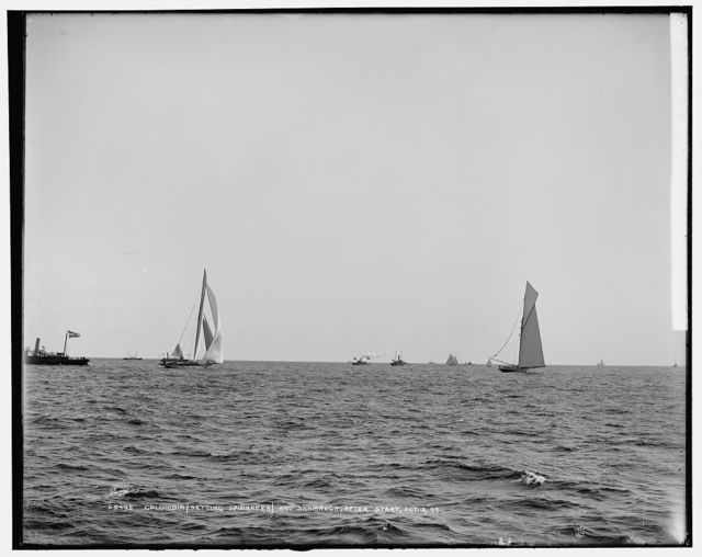 Columbia setting spinnaker and Shamrock, after start