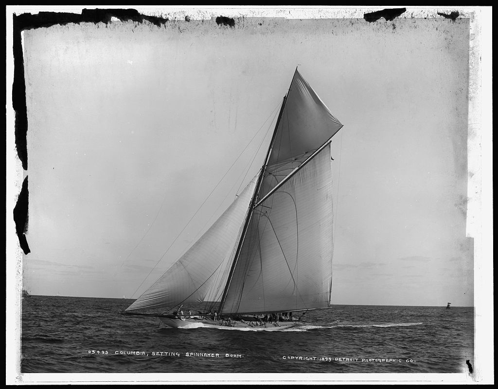 Columbia setting spinnaker boom, Oct. 3, 1899