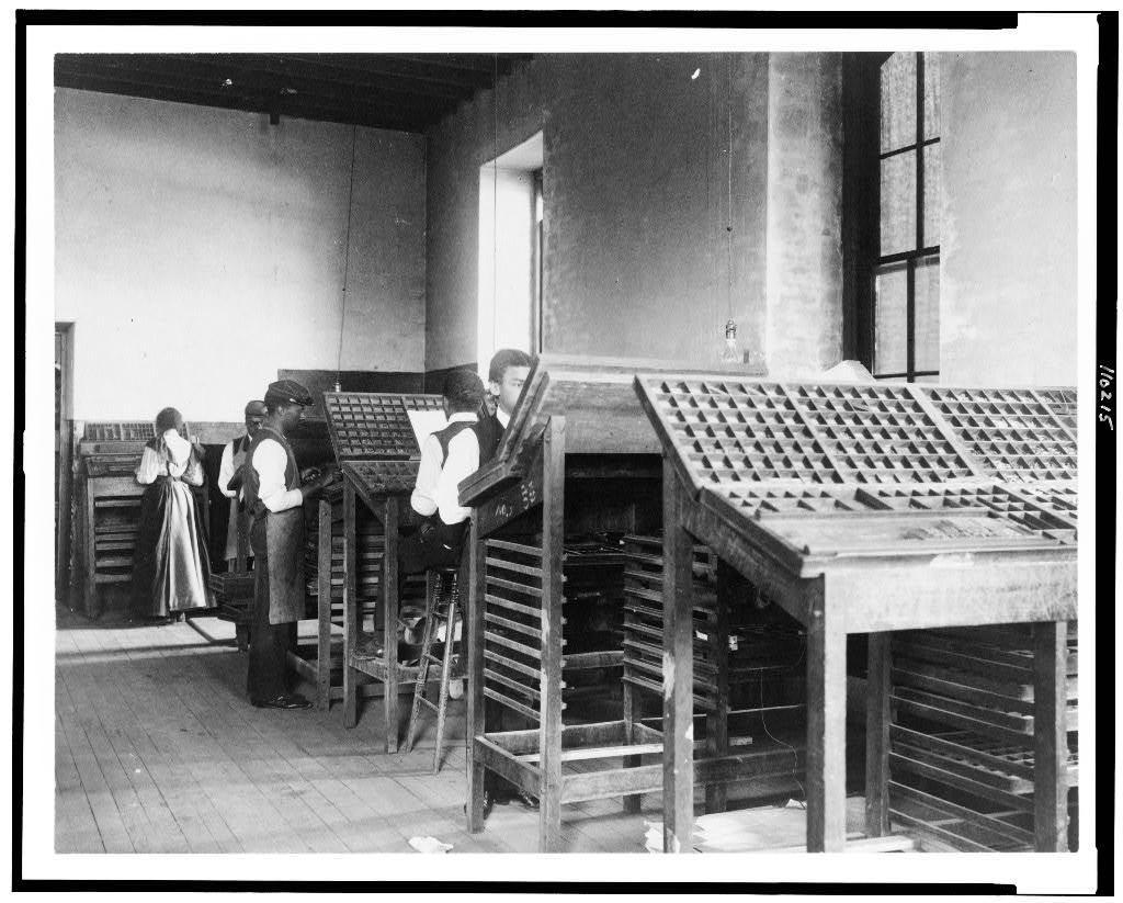 [Compositors working in printing shop, Hampton Institute, Hampton, Virginia]