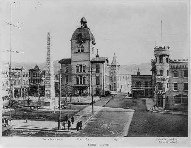 Court Square - Vance Monument, courthouse, City Hall, Palmetto Building and Sheville Library, Asheville, N.C.