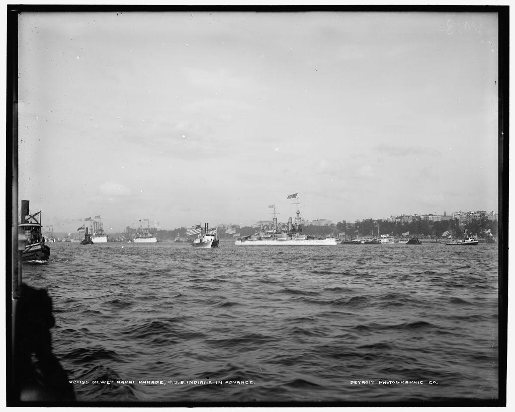 Dewey Naval Parade, U.S.S. Indiana in advance