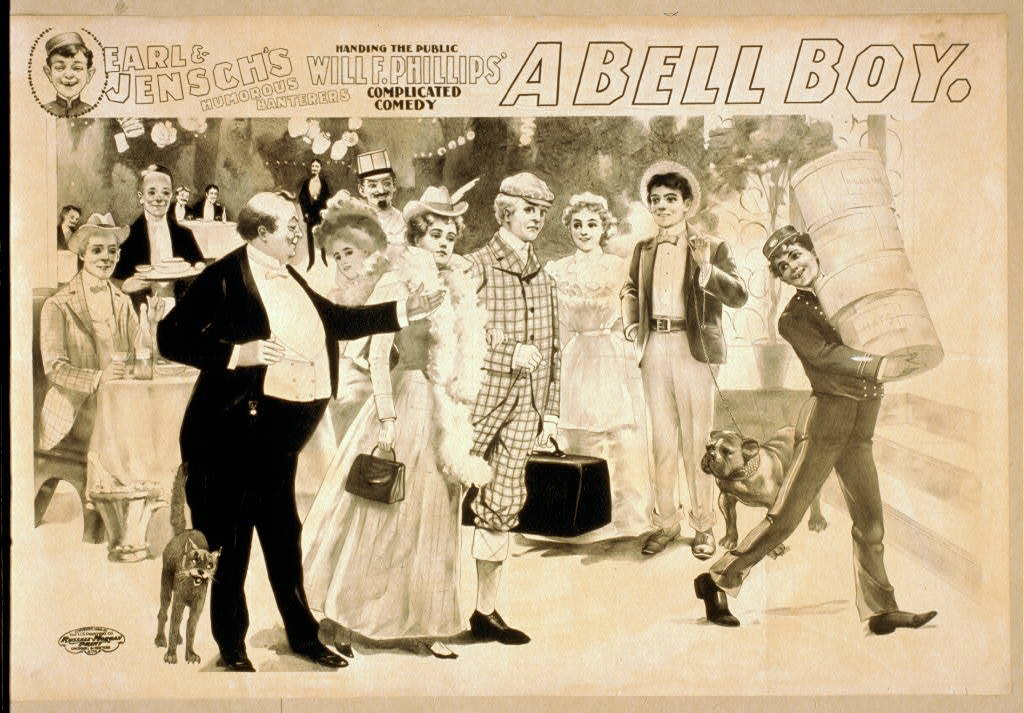 Earl & Jensch's humorous banterers handing the public, Will F. Phillips' complicated comedy, A bell boy