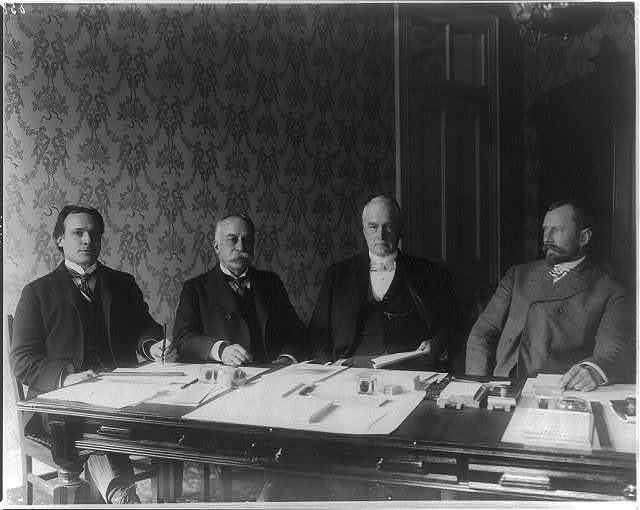 First Philippine Commission: Jacob G. Schurman, Admiral Dewey, Charels Denby, and Dean C. Worcester (Gen. [Elwell S.] Otis not present)