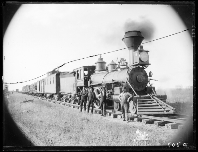 First train into Sargent, Custer County, Nebraska.
