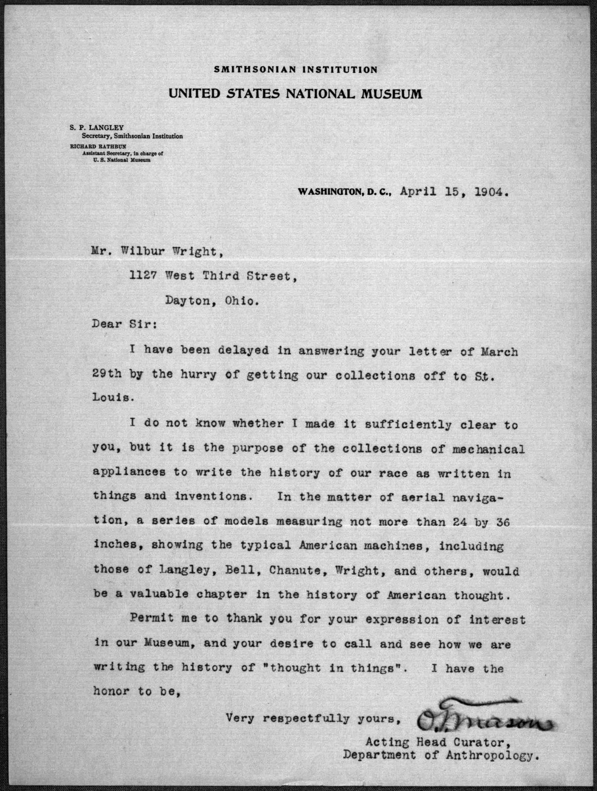 General Correspondence:  Smithsonian Institution, 1899-1909