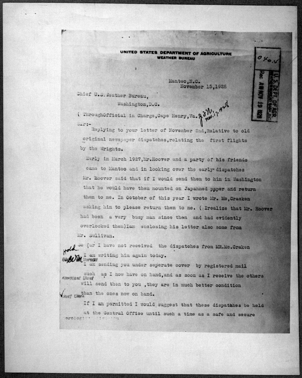 General Correspondence:  United States Weather Bureau, 1899-1906, 1927-1932, 1940-1943
