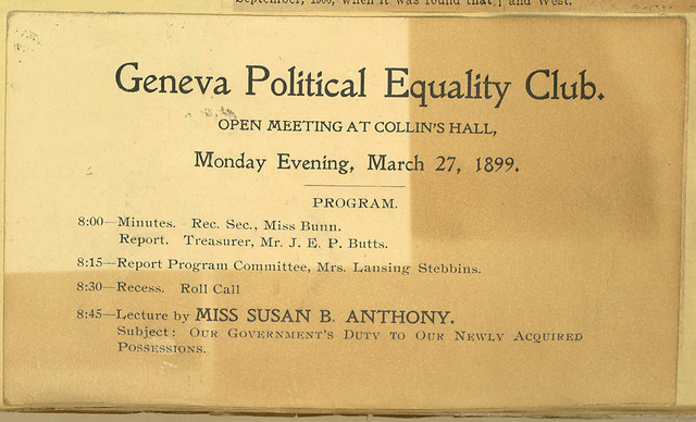 Geneva Political Equality Club meeting notice, Collin's Hall