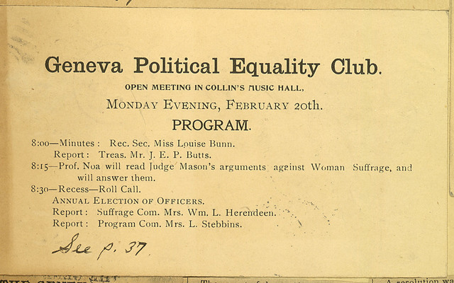 Geneva Political Equality Club meeting notice, Collins Music Hall, February 20, 1899