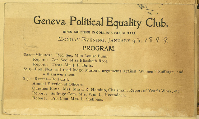 Geneva Political Equality Club meeting notice, Collin's Music Hall, January 9, 1899