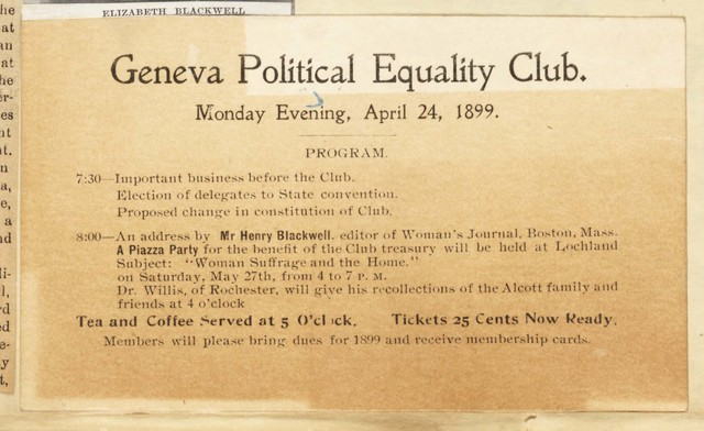 Geneva Political Equality Club Meeting program