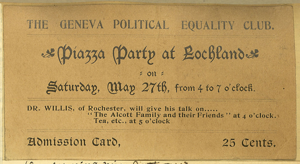 Geneva Political Equality Club ticket for Piazza Party at Lochland