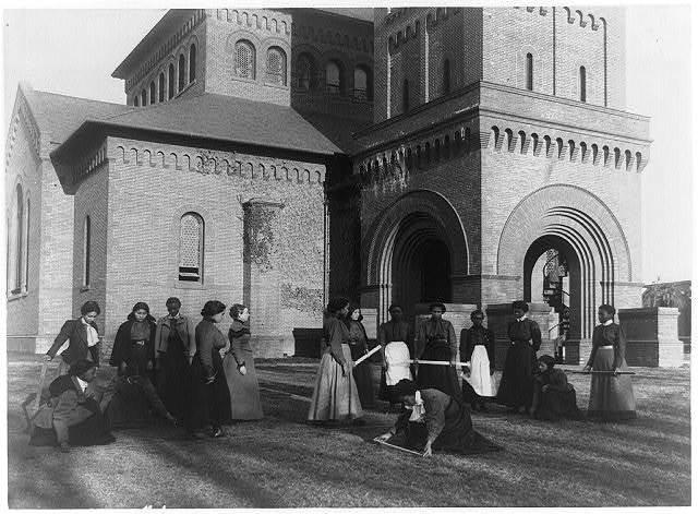 [Girls measuring piece of ground in arithmetic class at Hampton Institute, Hampton, Va.]