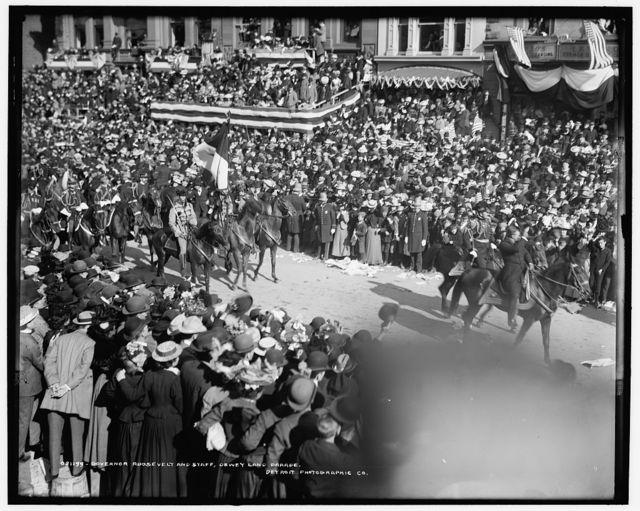 Governor Roosevelt and staff, Dewey land parade