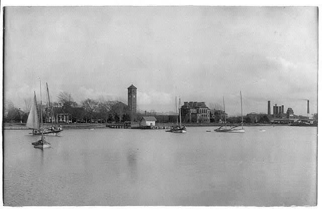 [Hampton Institute campus from offshore (southern waterfront), Hampton, Virginia]