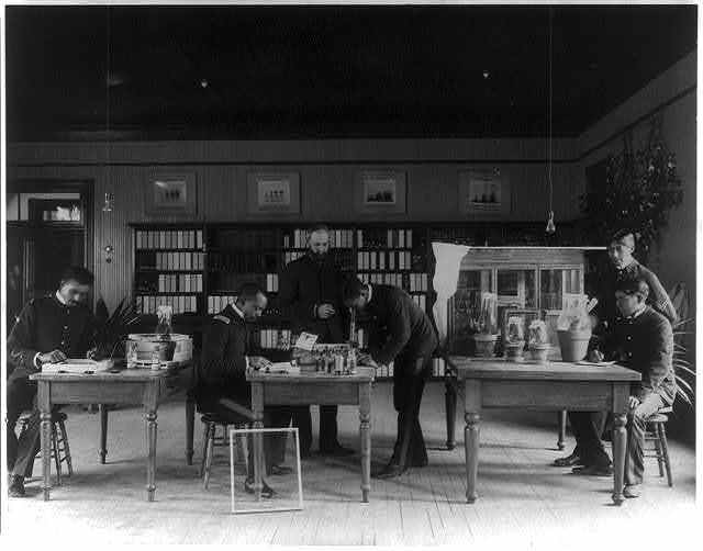 [Hampton Institute, Hampton, Va. - teacher and five students studying insects in the laboratory]