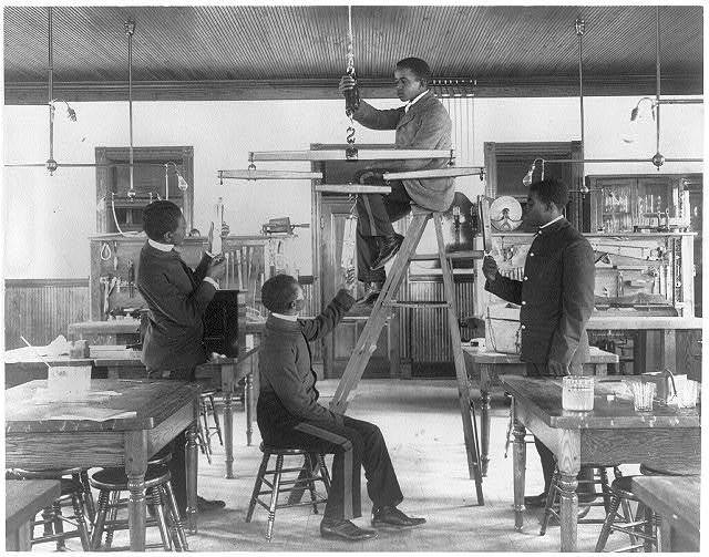 [Hampton Institute, Va. 1899 -  Classroom scenes - testintg combined draught of animals]