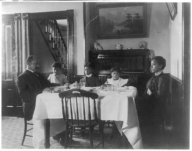 [Hampton Institute, Va. - a graduate (dining) at home]