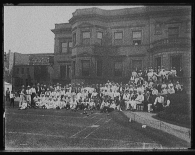 [Hiram Walker & Sons lawn bowling tournament group in front of office building, Walkerville, Ont.]