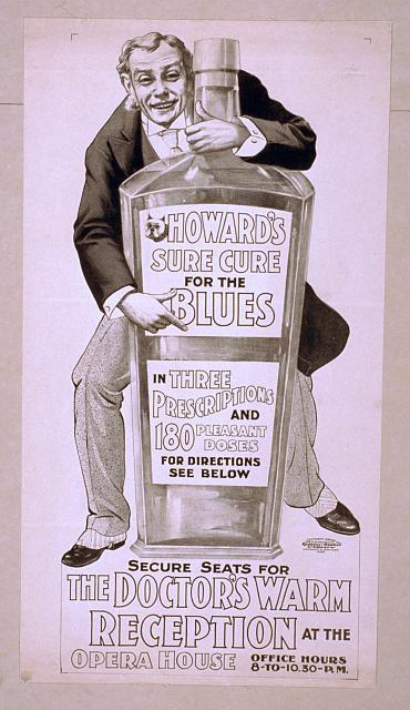 Howard's sure cure for the blues in three prescriptions and 180 pleasant doses for direction see below : secure seats for The doctor's warm reception at the Opera House, office hours, 8-to-10:30 p.m.
