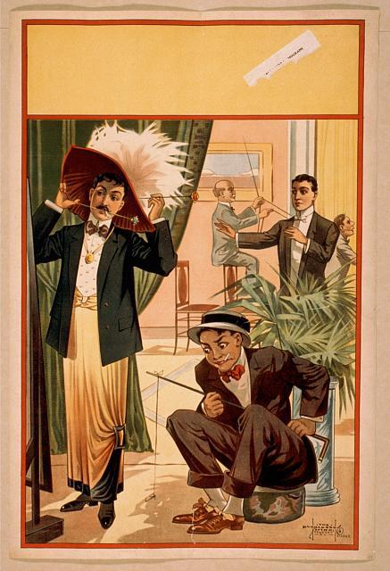 [Hypnotist directing group of people to do unusual things: man wearing women's clothing and feathered hat, man using cane as fishing pole, man driving another man like a horse and carriage]