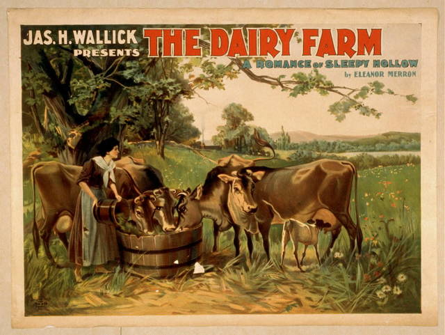 Jas. H. Wallick presents The dairy farm a romance of Sleepy Hollow by Eleanor Merron.