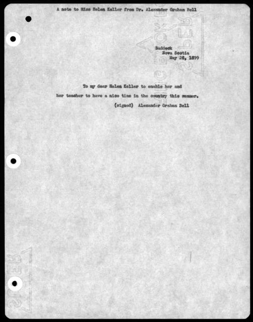 Letter from Alexander Graham Bell to Helen Keller, May 26, 1899