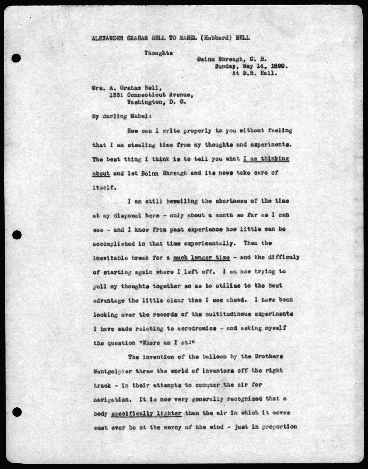 Letter from Alexander Graham Bell to Mabel Hubbard Bell, May 14, 1899