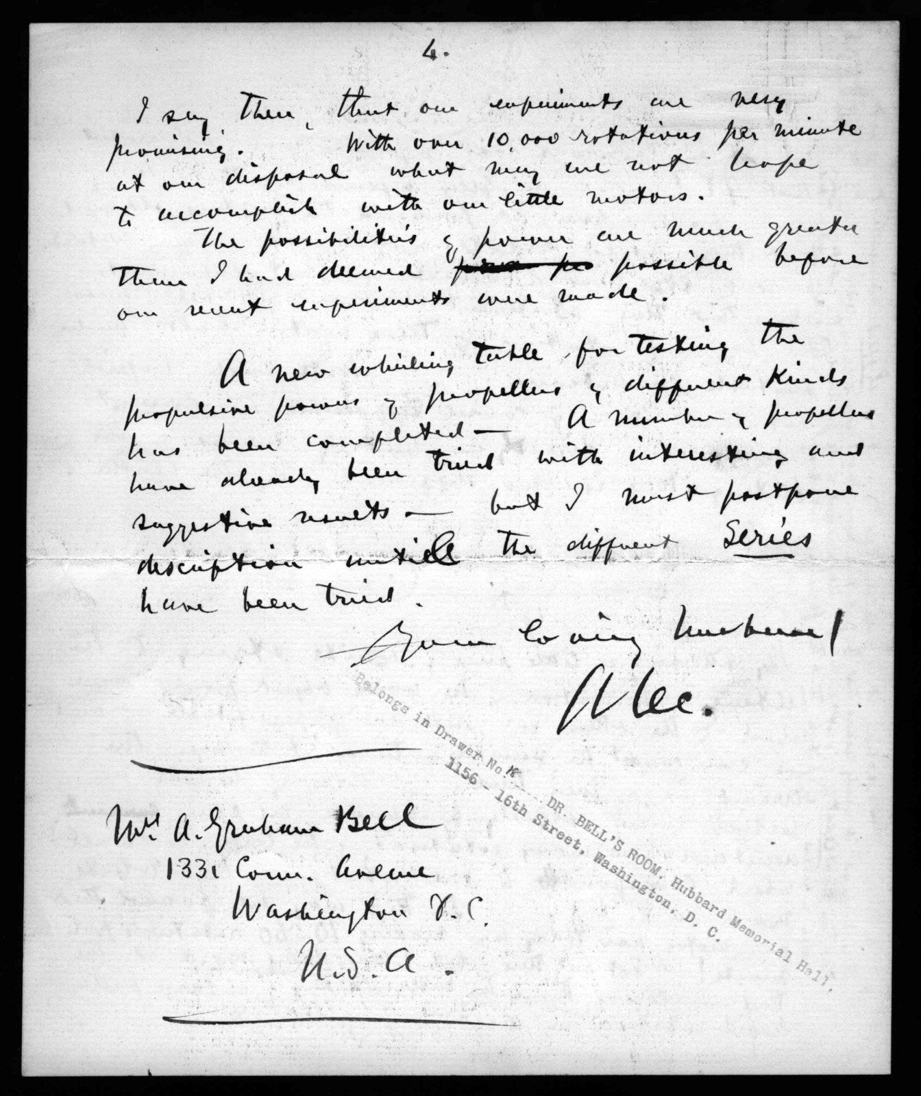 Letter from Alexander Graham Bell to Mabel Hubbard Bell, May 26, 1899