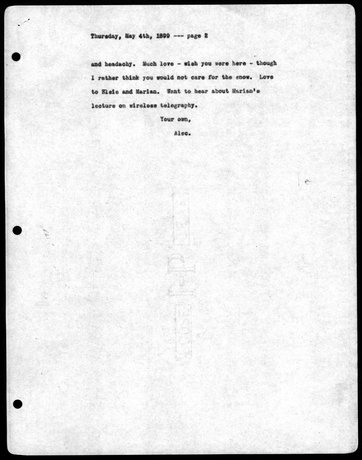 Letter from Alexander Graham Bell to Mabel Hubbard Bell, May 4, 1899