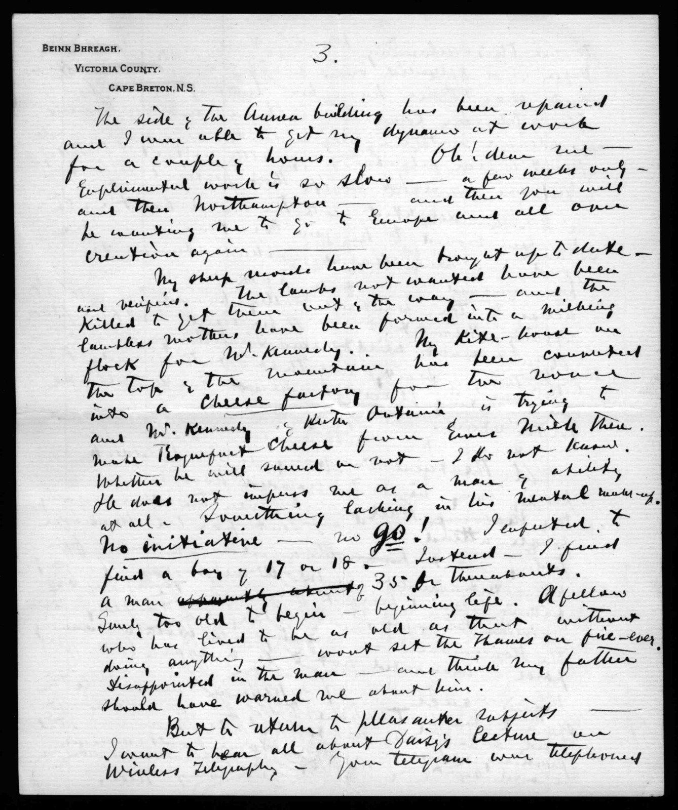 Letter from Alexander Graham Bell to Mabel Hubbard Bell, May 9, 1899