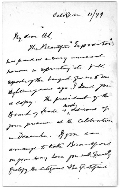 Letter from Alexander Melville Bell to Alexander Graham Bell, October 11, 1899