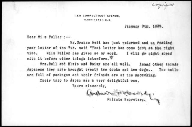 Letter from Arthur McCurdy to Sarah Fuller, January 9, 1899