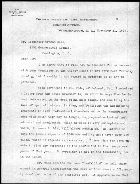 Letter from Fred H. Wines to Alexander Graham Bell, November 21, 1899