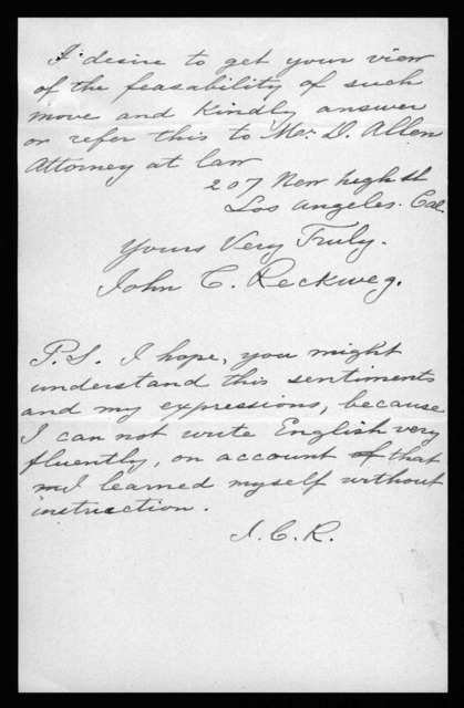 Letter from John C. Reckweg to Alexander Graham Bell, January 13, 1899