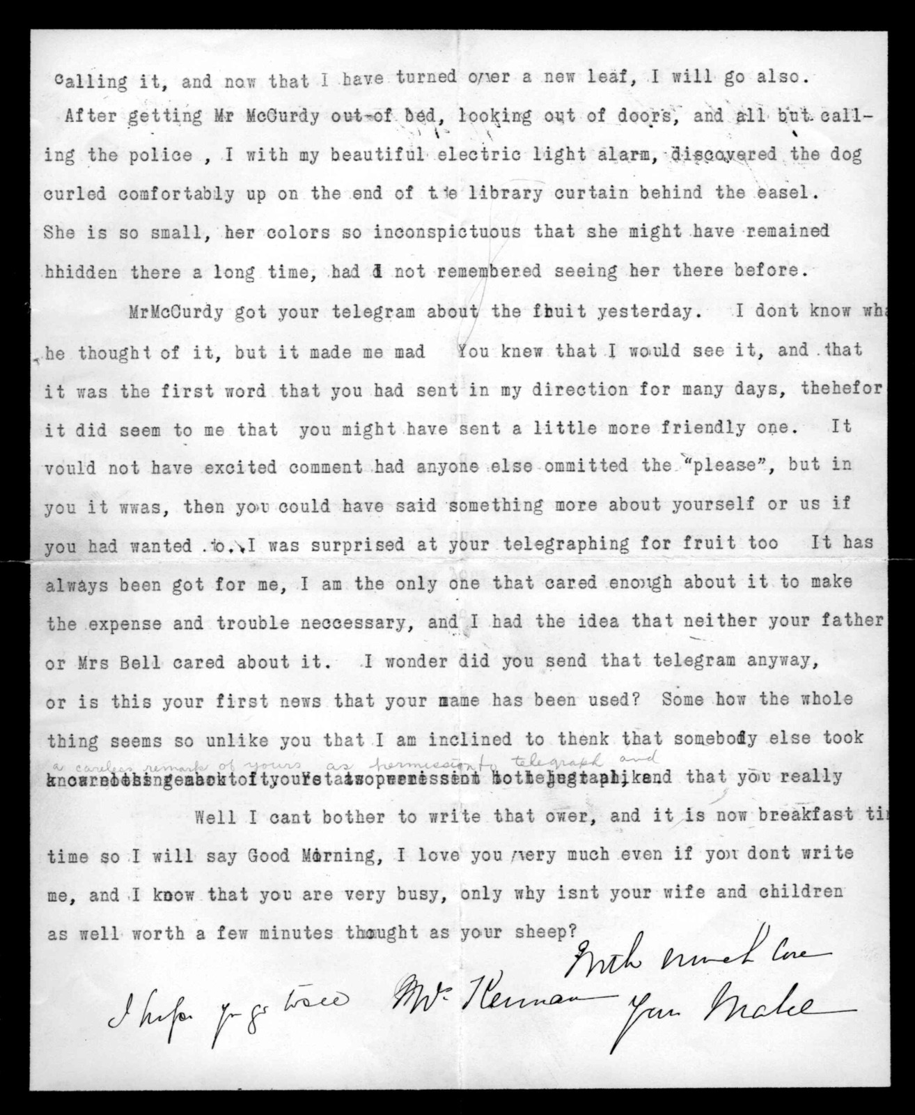 Letter from Mabel Hubbard Bell to Alexander Graham Bell, May 12, 1899