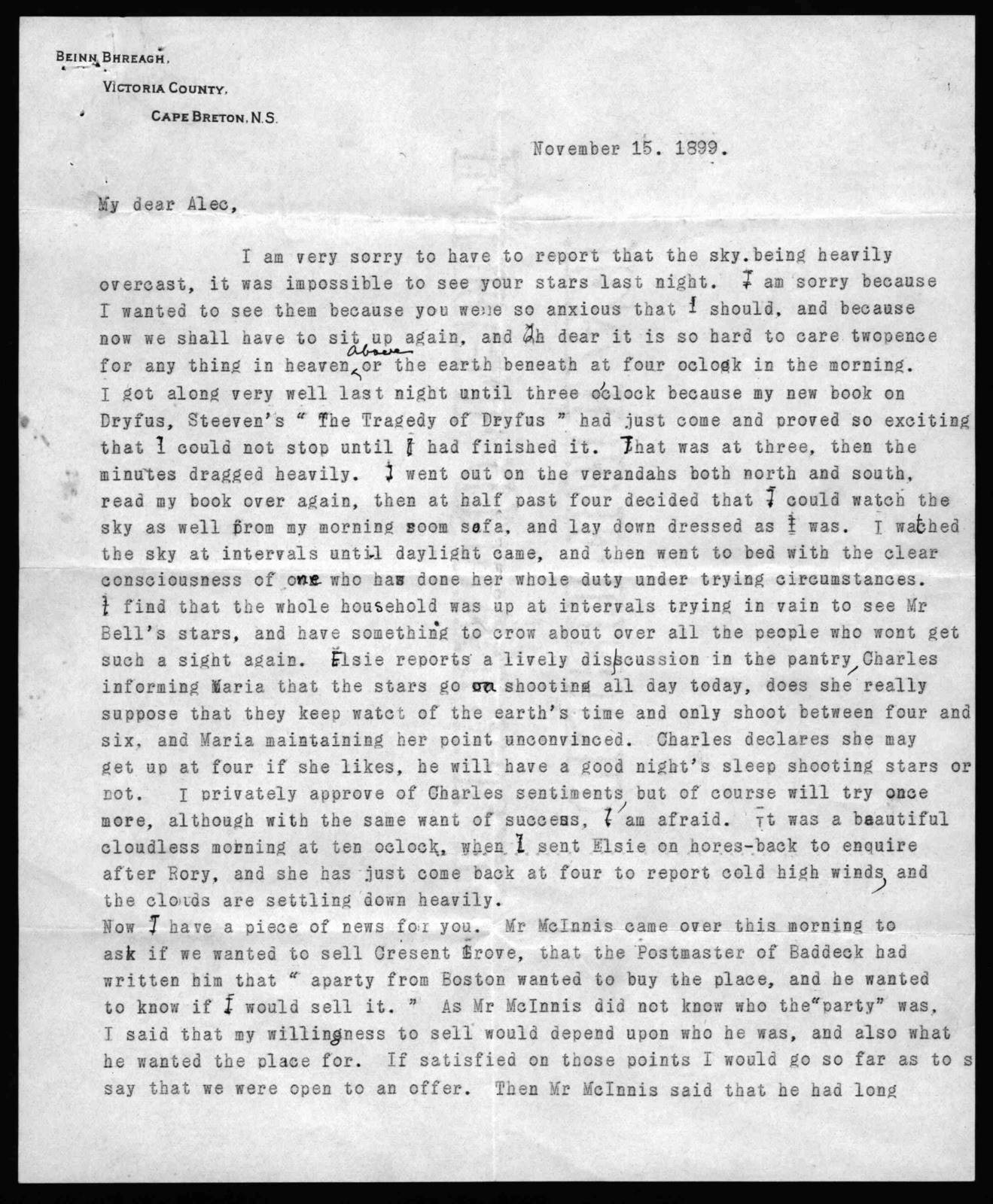 Letter from Mabel Hubbard Bell to Alexander Graham Bell, November 15, 1899