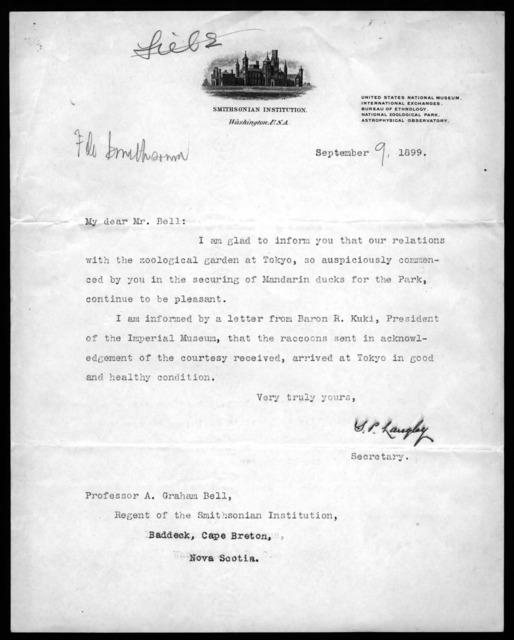 Letter from Samuel P. Langley to Alexander Graham Bell, September 9, 1899