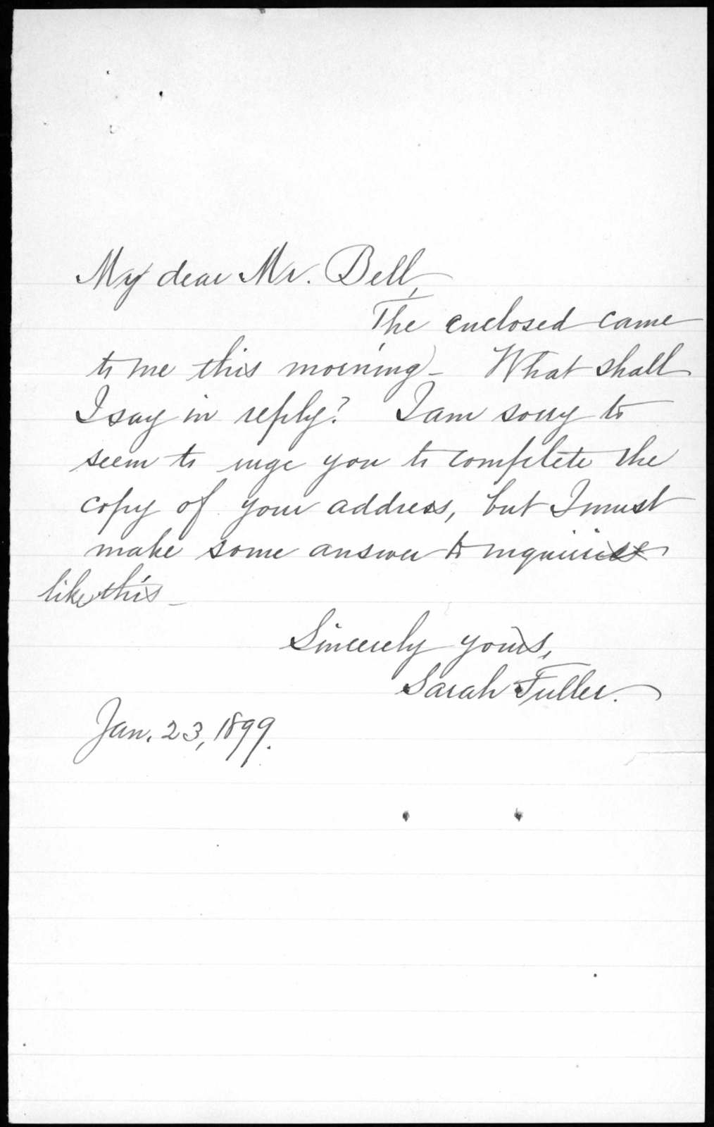Letter from Sarah Fuller to Alexander Graham Bell, January 23, 1899