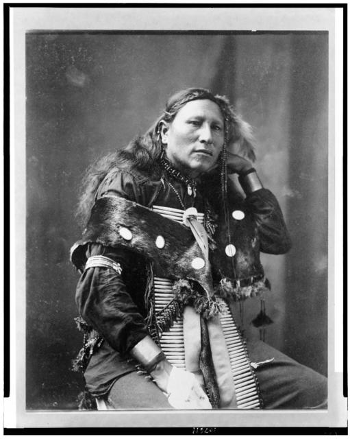 [Little Eagle, Indian, three-quarter length portrait, seated, facing right]