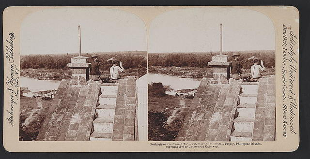 Lookouts on the church top - watching the Filipinos - Taquig [i.e. Taguig], Philippine Islands