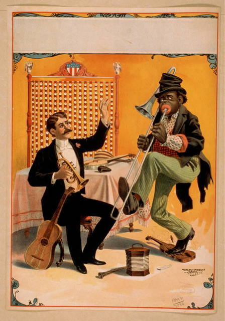 [Man seated holding horn with arm raised and African American playing trombone]